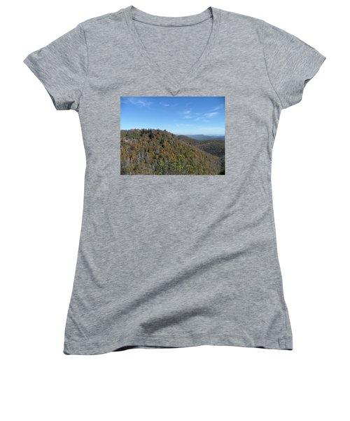 Smokies 7 Women's V-Neck T-Shirt (Junior Cut) by Val Oconnor