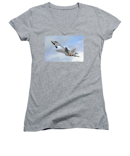 Women's V-Neck T-Shirt (Junior Cut) featuring the digital art Smokin - F22 Raptor On The Go by Pat Speirs