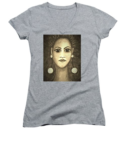 Smoking Woman 1 Women's V-Neck (Athletic Fit)