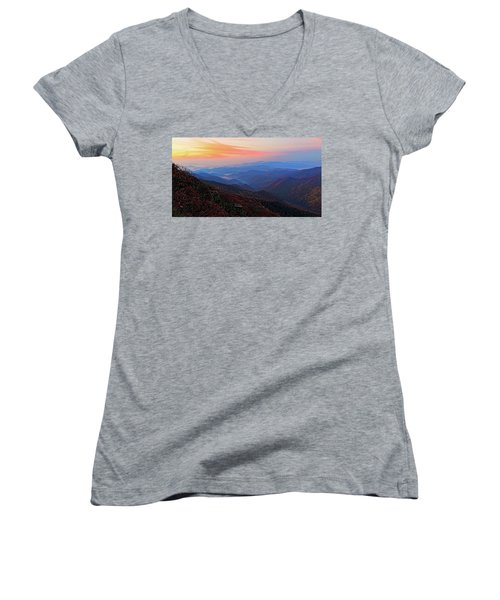 Dawn From Standing Indian Mountain Women's V-Neck T-Shirt (Junior Cut) by Daniel Reed