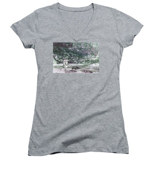 Women's V-Neck T-Shirt (Junior Cut) featuring the photograph Smoky Mountain Fisherman by Mike Eingle