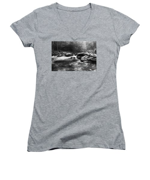 Women's V-Neck T-Shirt (Junior Cut) featuring the photograph Smoky Mountain River by Jay Stockhaus