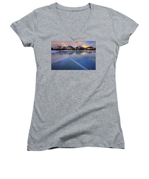 Smooth Ice Women's V-Neck T-Shirt (Junior Cut) by Dan Jurak