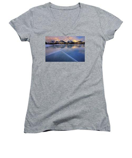 Women's V-Neck T-Shirt (Junior Cut) featuring the photograph Smooth Ice by Dan Jurak