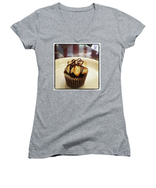 Women's V-Neck featuring the photograph smore Miniature Cupcake N Coffee by Mr Photojimsf
