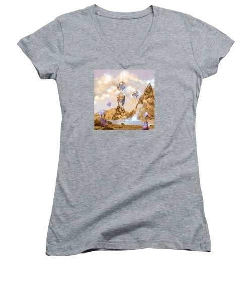 Women's V-Neck T-Shirt (Junior Cut) featuring the digital art Snail Shell City by Alexa Szlavics