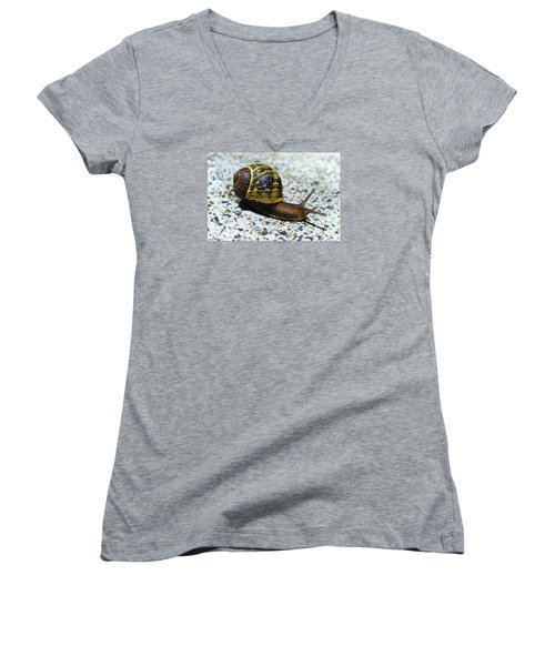 Women's V-Neck T-Shirt (Junior Cut) featuring the photograph Snailing Alone 01 by Kevin Chippindall