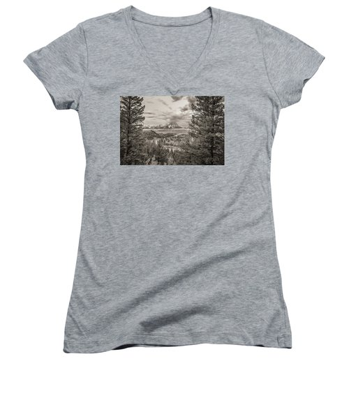 Snake River Overlook Grand Teton Monochromatic Women's V-Neck T-Shirt