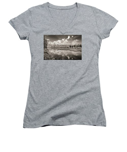 Snake River Reflection Grand Teton Monochromatic Women's V-Neck T-Shirt