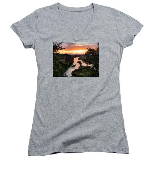 Snake River Sunset Women's V-Neck (Athletic Fit)
