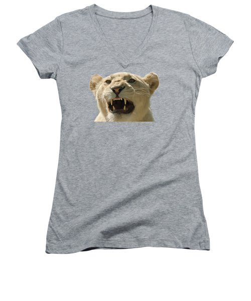 Women's V-Neck T-Shirt (Junior Cut) featuring the photograph Snarling Lion by Scott Carruthers