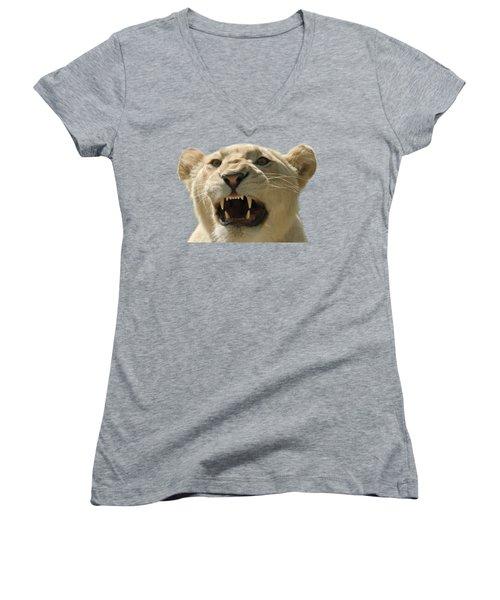 Snarling Lion Women's V-Neck T-Shirt (Junior Cut) by Scott Carruthers