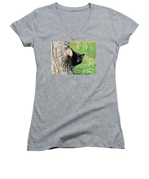 Sneaky Cat Women's V-Neck T-Shirt