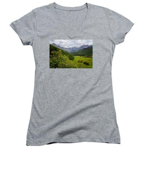 Women's V-Neck T-Shirt (Junior Cut) featuring the photograph Sneffles Range by Lana Trussell