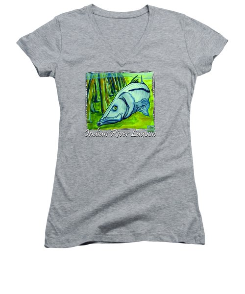 Snook Fish Women's V-Neck T-Shirt (Junior Cut) by W Gilroy