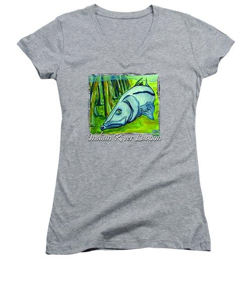 Snook Fish Women's V-Neck T-Shirt (Junior Cut) by W Gilroy