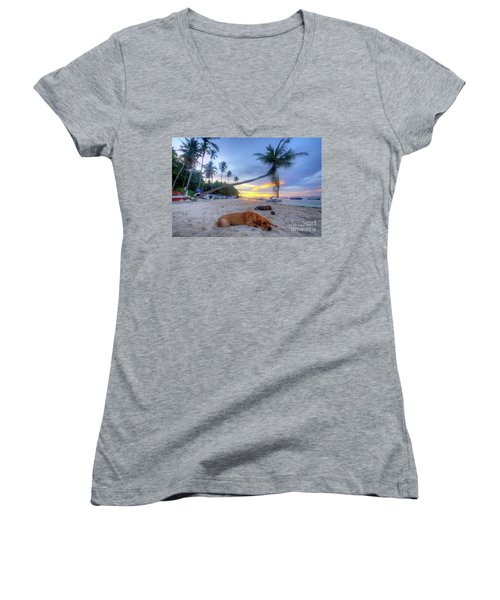 Women's V-Neck T-Shirt (Junior Cut) featuring the photograph Snooze by Yhun Suarez