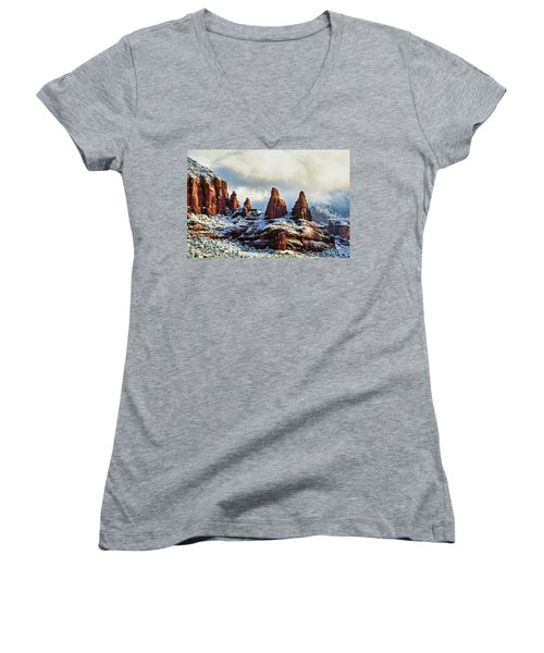Snow 04-002 Women's V-Neck T-Shirt (Junior Cut) by Scott McAllister