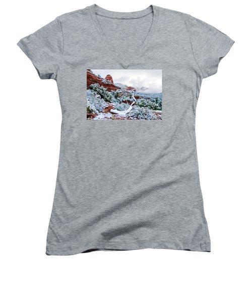 Snow 05-024 Women's V-Neck T-Shirt (Junior Cut) by Scott McAllister