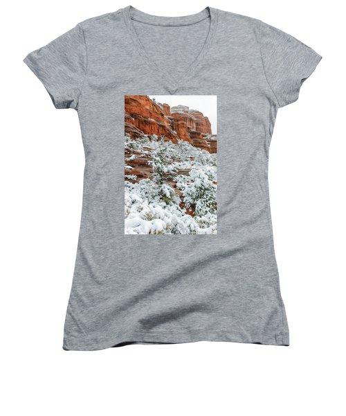 Snow 06-051 Women's V-Neck T-Shirt (Junior Cut) by Scott McAllister