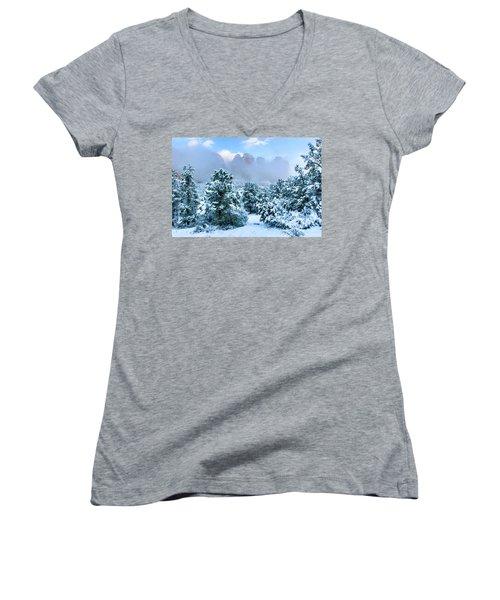 Snow 07-072 Women's V-Neck T-Shirt (Junior Cut) by Scott McAllister