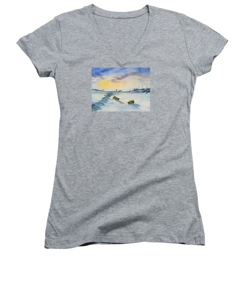 Snow And Sheep On The Moors Women's V-Neck (Athletic Fit)