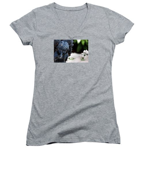 Women's V-Neck T-Shirt (Junior Cut) featuring the photograph Snow Angel Whisperer by Shelley Neff
