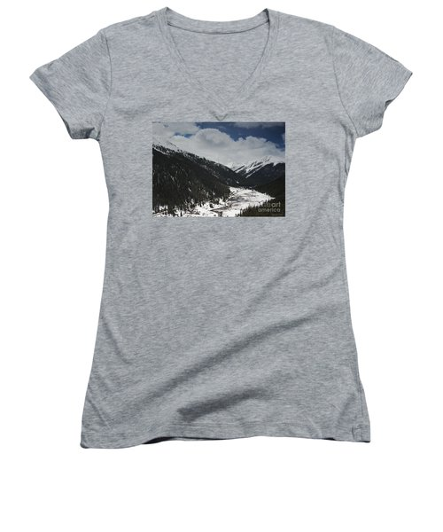 Snow At Independence Pass Colorado Highway 82 Women's V-Neck T-Shirt (Junior Cut) by Nature Scapes Fine Art