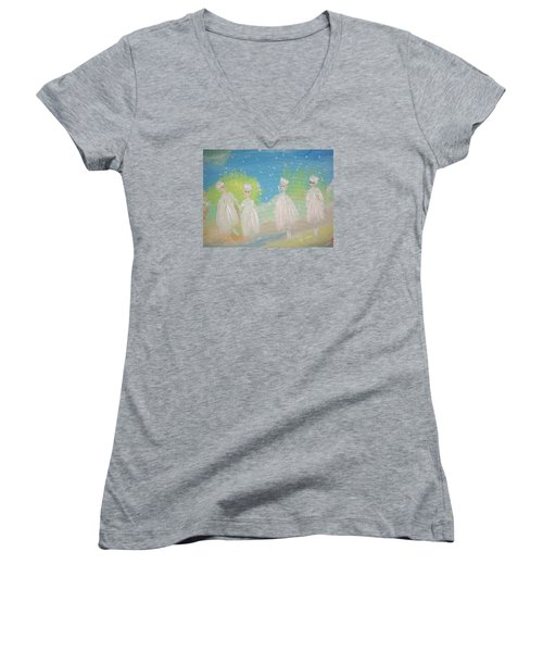Snow Ballet Women's V-Neck T-Shirt (Junior Cut) by Judith Desrosiers
