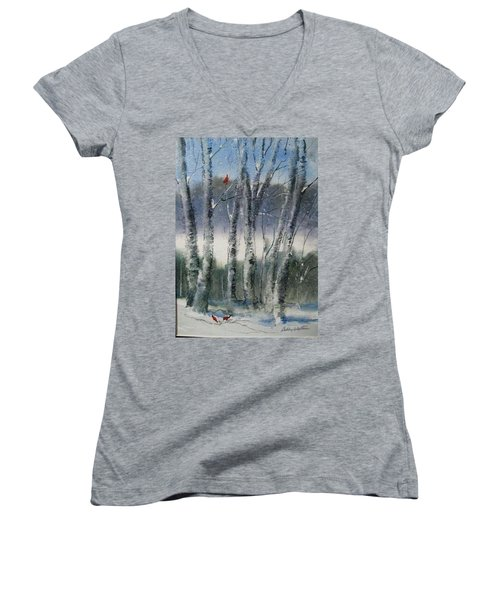 Snow Birch  Women's V-Neck T-Shirt