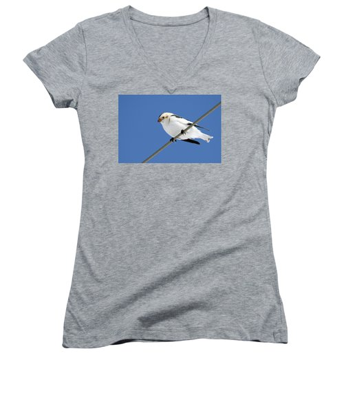 Snow Bunting Women's V-Neck T-Shirt (Junior Cut) by Brook Burling