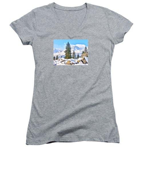 Snow Cool Women's V-Neck T-Shirt (Junior Cut) by Marilyn Diaz