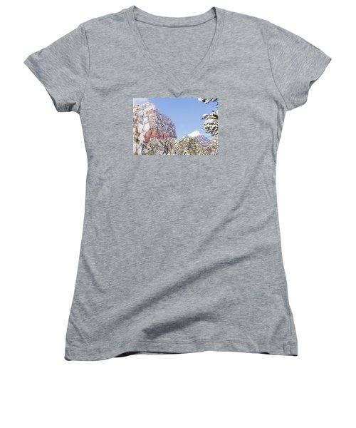 Snow Covered Women's V-Neck T-Shirt (Junior Cut) by Laura Pratt