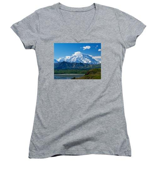 Snow-covered Mount Mckinley, Blue Sky Women's V-Neck T-Shirt