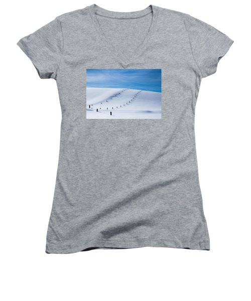 Snow Covered Pasture Women's V-Neck (Athletic Fit)
