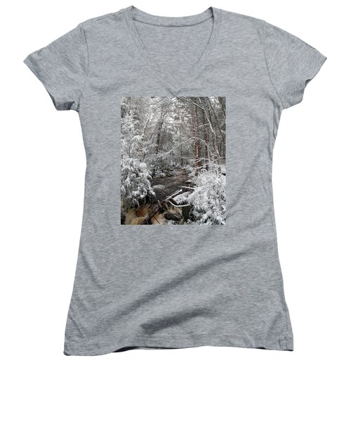 Snow Covered River Women's V-Neck (Athletic Fit)