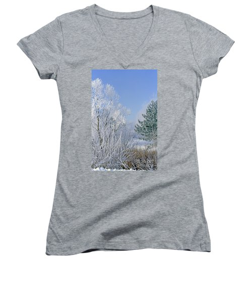 2a357 Snow Covered Trees At Alum Creek State Park Women's V-Neck