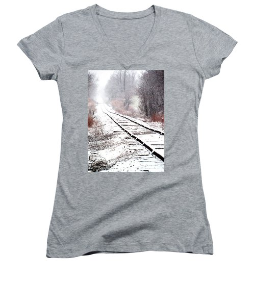 Snow Covered Wisconsin Railroad Tracks Women's V-Neck T-Shirt