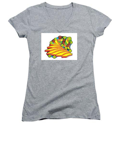 Snow Day 1 Women's V-Neck T-Shirt (Junior Cut) by Paul Meinerth