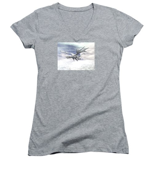 Snow Dragon Women's V-Neck T-Shirt (Junior Cut) by Michele Wilson