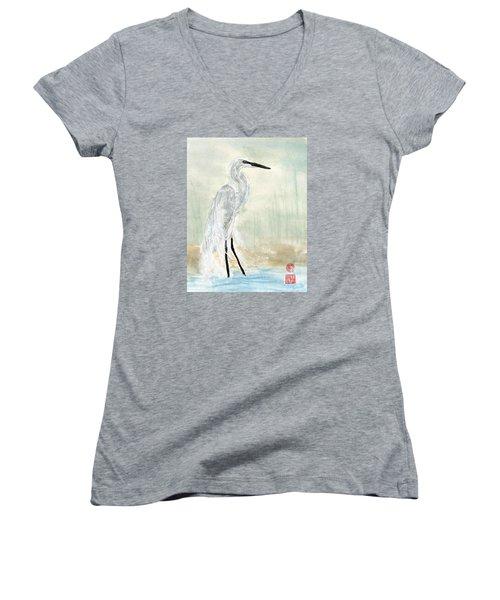 Snow Egret Women's V-Neck (Athletic Fit)