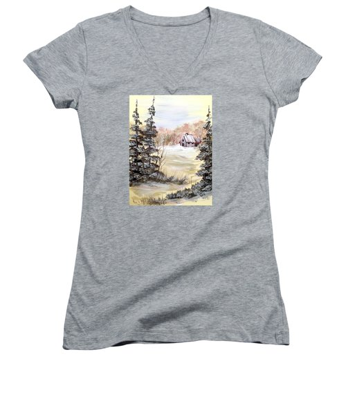 Snow Everywhere Women's V-Neck T-Shirt (Junior Cut) by Dorothy Maier