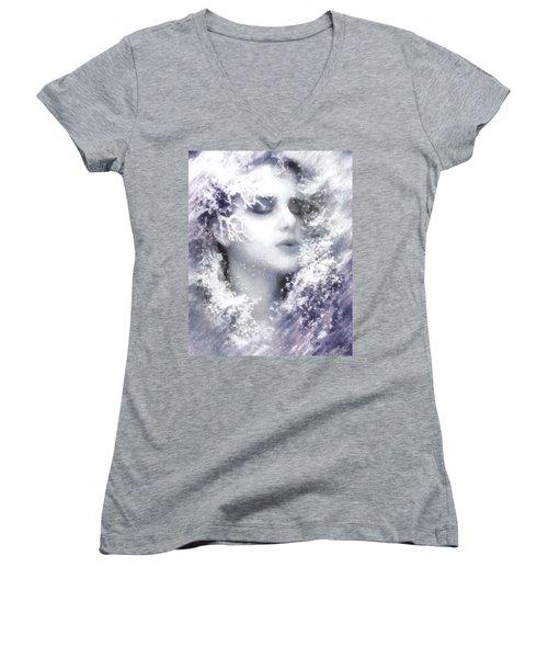 Women's V-Neck T-Shirt (Junior Cut) featuring the digital art Snow Fairy  by Gun Legler