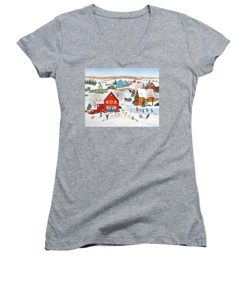 Snow Family  Women's V-Neck T-Shirt (Junior Cut) by Wilfrido Limvalencia