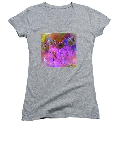 Snow Flowers Women's V-Neck T-Shirt (Junior Cut) by Lisa Kaiser