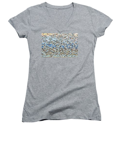 Snow Geese Fly Off Women's V-Neck (Athletic Fit)