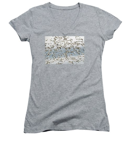 Women's V-Neck T-Shirt (Junior Cut) featuring the photograph Snow Goose Storm by Mike Dawson