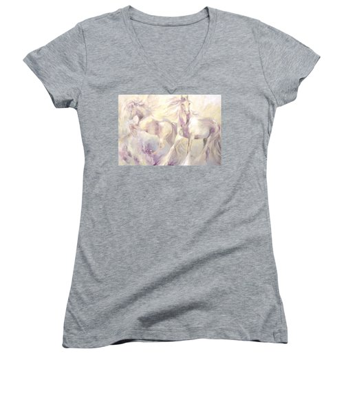 Snow Gypsies Women's V-Neck T-Shirt (Junior Cut) by Dina Dargo