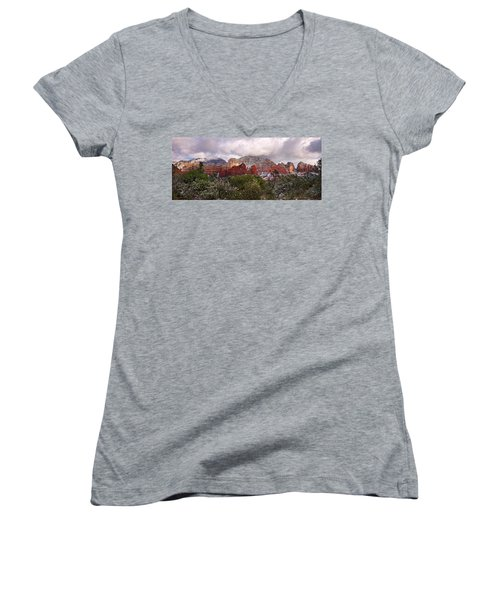 Snow In Heaven Panorama Women's V-Neck