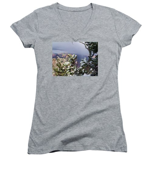 Women's V-Neck T-Shirt (Junior Cut) featuring the photograph Snow In The Canyon by Roberta Byram
